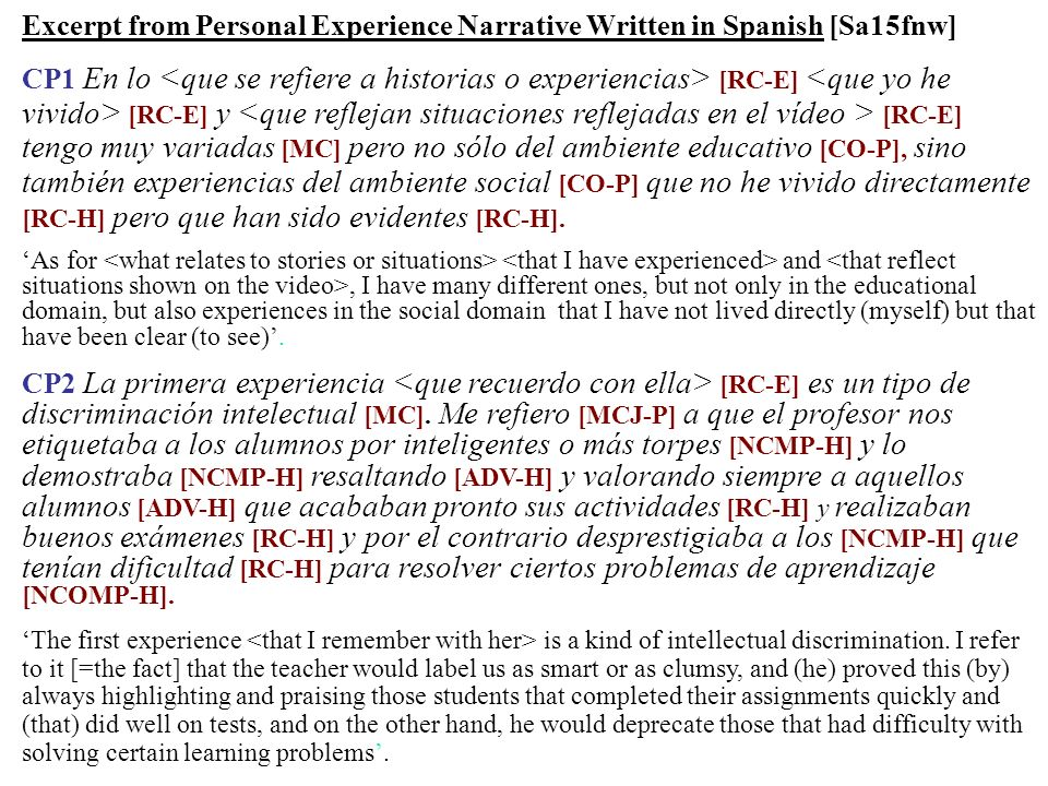 Excerpt from Personal Experience Narrative Written in Spanish [Sa15fnw]